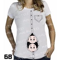 Camiseta De Grávida Gestante Gêmeos Personalizadas Menino