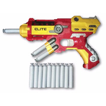 Pistola Nerf Homem De Ferro Brinqued Arma Atira Lança Dardos