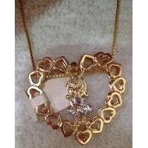 Colar Feminino Menina E Corações Semi-jóia Banhada Ouro 18k