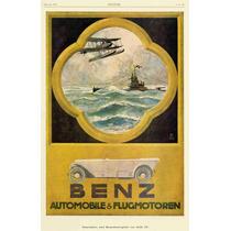 Poster Tela Benz Automovil & Flugmotoren 1918 78 X 50 Cm