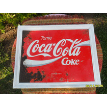 Antiguo Cartel En Chapa Coca Cola Con Marco En Madera
