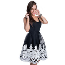 Vestido Rodado Com Renda Guipir - Kam Bess - Ve1322