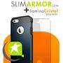 Carcasa Slim Oem + Lamina Vidrio Iphone 4 5 5c Galaxy S4 Lg