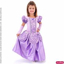 Fantasia Vestido Princesa Sofia Luxo Infantil Com Luvas