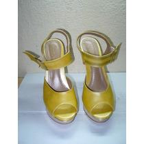 139 X - Sandália Amarela /dourado Nº 37 Linda Luz
