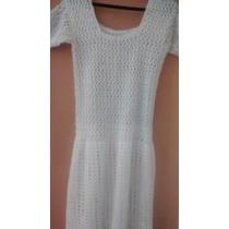 Vestido Branco Lindo De Crochê