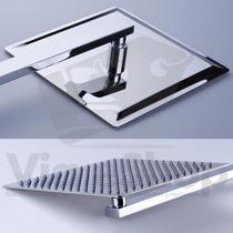Chuveiro Ducha Slim Quadrado Inox 20cm Braço 38cm Gás Solar
