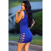 Moda Sexy Vestido Azul Con Argollas Tiras Antro Table Dance