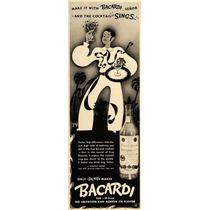 Lienzo En Tela Publicidad Ron Bacardi 1937 80 X 25 Cm