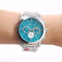 Relógio Feminino Michael Kors Mk5953 Prata Azul Frete Grátis