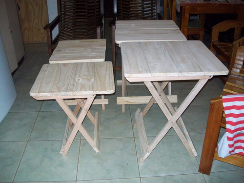 Mesas y sillas plegables camping bar parrillada en madera for Mercado libre mesas y sillas