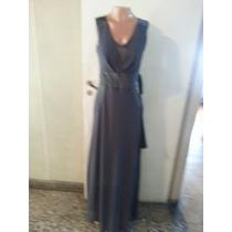 Vestido Largo De Gasa Con Transparencia Con Raso T L $ 750