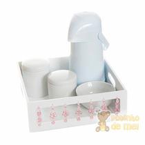Kit Higiene Bandeja Branca Florzinhas Quarto Bebê E Infantil