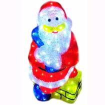 Papai Noel Grande De Acrílico Na Chaminé