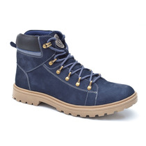 Bota Masculina Em Couro Fork Cnt 10001-2 Azul N... - 10001-2