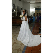 Vestido De Novia Corte Princesa, Con Armador, Velo Y Guantes