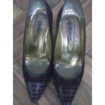 Zapatos Ferraro, Nº 38,cuero, Gamuza,reptil.