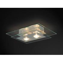 Plafon Sala Quarto Retangular 2 Lampadas Transparente Kit 2