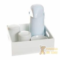 Kit Higiene Bandeja Lisa Branca Quarto Bebê E Infantil