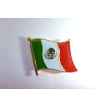 Lote 10 Pin Metalico Bandera De Mexico Broche Recuerdo