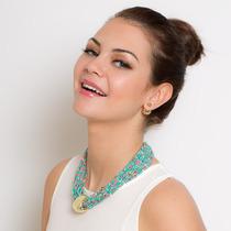 Collar Y Aretes Con Chaquiras Dorado - Gossip Collection