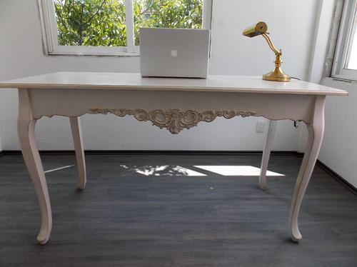 Escritorio mueble vintage mesa blanco antiguo decapado for Decoracion muebles vintage