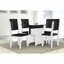 Conjunto De Mesa C/4 Cadeiras, Tampo De Vidro-pronta Entrega