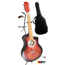 Guitarra Electro Acust/corte Funda+afina+pua+pie / Open-toys