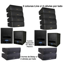 Som Line Array + Subwoofer + Torre Delay / Caixa Ativa