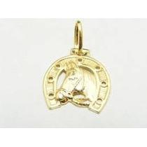 Ping Ferradura Cara De Cavalo Ouro 18k 750 Maciço - Novo