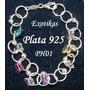Ph01 Pulsera Cristal Plata Italiana Ley 925 10,7gr Mariposa