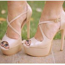 Sandália Salto Alto 13cm Fino Preto Nude Branco Leluel Shoes