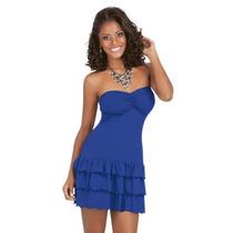 Vestido Azul Bic Em Poliviscose Flamê Comprimento Mini
