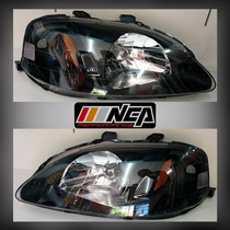 Faros Estilo Jdm Black Housing 99-00 Honda Civic Nca