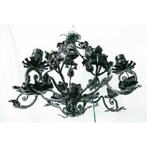 Antigua Araña De Hierro Negra, 6 Luces. Con Hojas. !!