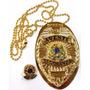 Distintivo Agente De Segurança Folheado A Ouro Brinde Bótom