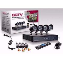 Kit Seguridad 4 Camaras Exterior 800 Tvl + Dvr 4 Ch + Cables
