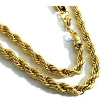 Cordão Corrente Grossa 7mm X 70cm Aço Inox Banhado Ouro 18k!