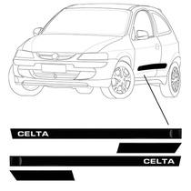 Kit Lateral Celta 2013 2014 Preto Não Borrachão Chevrolet