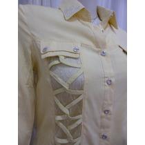 Camisa Renda Bordada Camisete Tricot Crochê Amarela