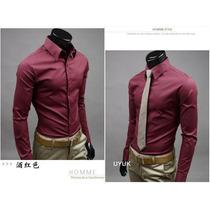 Camisa Social Masculina Algodão Cor Vinho Slim Importada 2