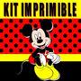 Kit Imprimible Mickey Rojo Y Negro Diseñá Tarjetas, Cumples