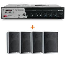 Kit Sonorização Ambiente Receiver Slim 4000 + 4 Caixas Ps200