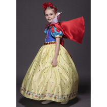 Vestido Fantasia Infantil Princesa Luxo Branca De Neve