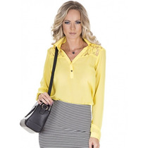 Camisa Amarela Feminina Detalhe Em Renda Principessa Kalinka