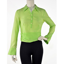 Camisa Corta, Manga Larga, Verde Limón Emporio Armani