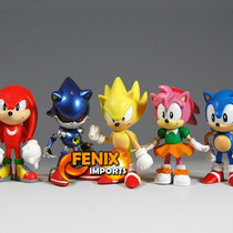 Bonecos Sonic Miniaturas Sonic 6 Peças! Tails Knuckles Sonic