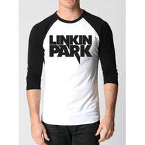Camisa Raglan 3/4 Linkin Park Rock