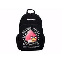 Mochila Escolar Juvenil Costas Angry Birds Preta Santino