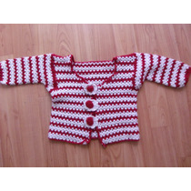 Hermoso Chalequito De Bebe Tejido A Crochet Banco Con Rojo